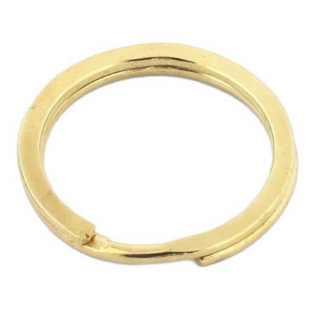 Kółka płaskie do kluczy breloków 20 mm 100 szt. złote